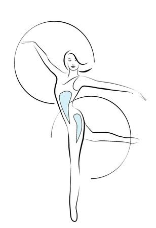 meisje met gymnastische hoepels Stock Illustratie