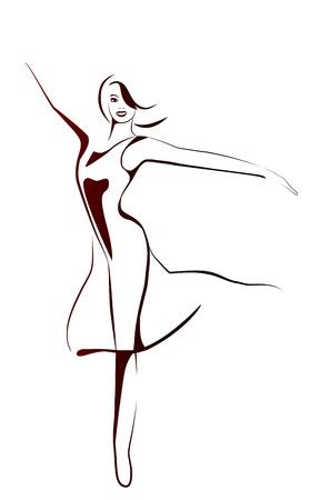 踊る女の子の様式化された図