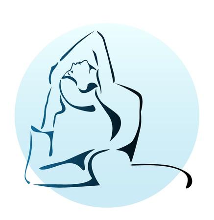 outline illustration of girl doing yoga exercise Vector
