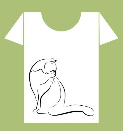 cat alphabet: t-shirt design with  black  cat