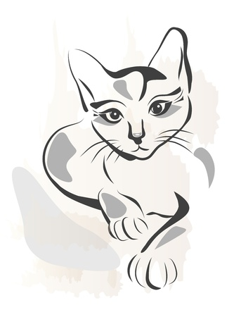 黒い猫のグランジ概要図  イラスト・ベクター素材