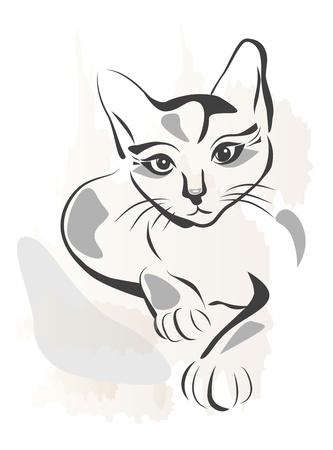 silueta de gato: Ilustración de contorno grunge de gato negro