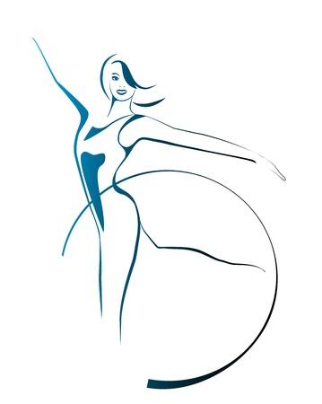 schets van meisje met gymnastiek hoepel Stock Illustratie