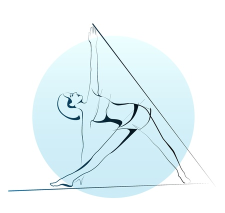 outline illustration of girl doing yoga exercise Vector