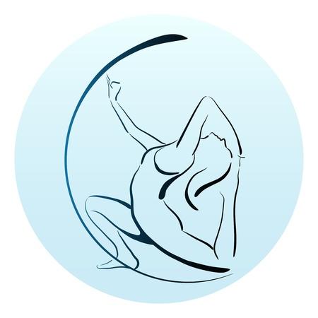 schets illustratie van meisje doet yoga oefening Stock Illustratie