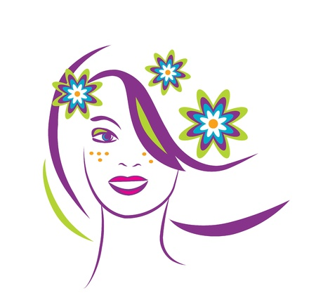 artistic nude: stylized portrait of beautiful young woman with flowers