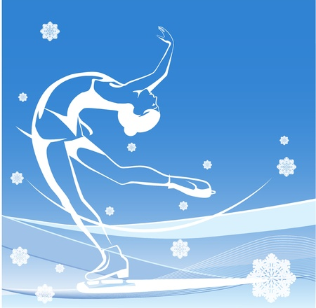 Winter sport. Ladies figure skating.  Ice show. Illustration