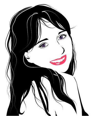 line art portrait of flirting young girl Vector