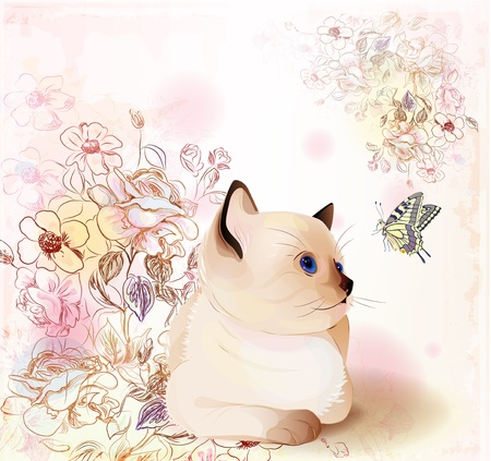 蝶を見てタイの子猫とレトロな誕生日グリーティング カード。水彩風。  イラスト・ベクター素材