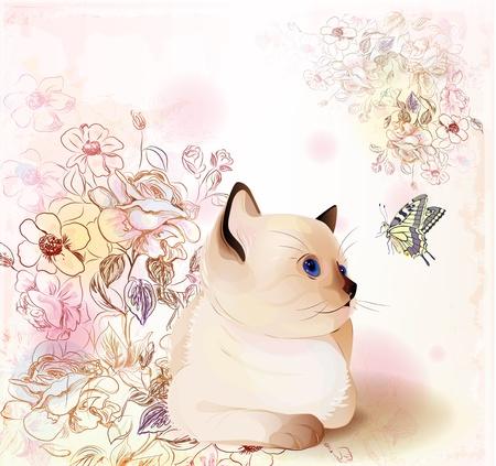 siamese: Retro Geburtstag Grusskarte mit thai kitten zu beobachten bei Schmetterling. Aquarell-Stil.
