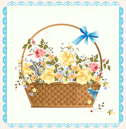 basket embroidery: vintage greeting card with roses Illustration
