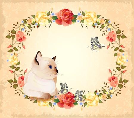 siamese: Vintage Geburtstagskarte mit kleinen siamesischen Katze, Rosen und Schmetterlinge Illustration