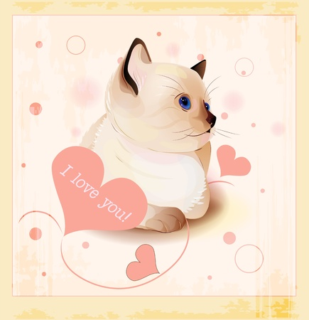 Valentines day greeting card with little siamese kitten and hearts Vector