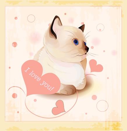 siamese: Valentinstag Gru�karte mit kleinen siamesischen Katze und Herzen Illustration
