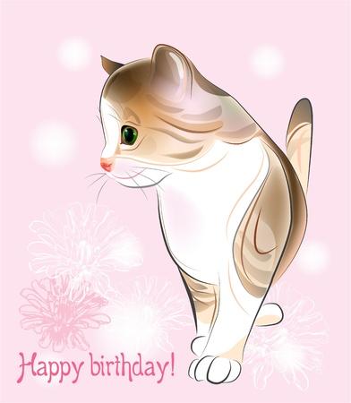 ピンクの背景に小さな子猫との幸せな誕生日グリーティング カード。水彩風。