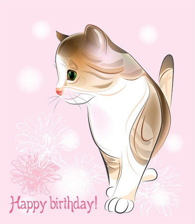 purr: Happy birthday greeting card  with  little  kitten on the pink background.  Watercolor style.