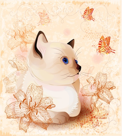 Vintage birthday card with little siamese  kitten and  flowers  イラスト・ベクター素材