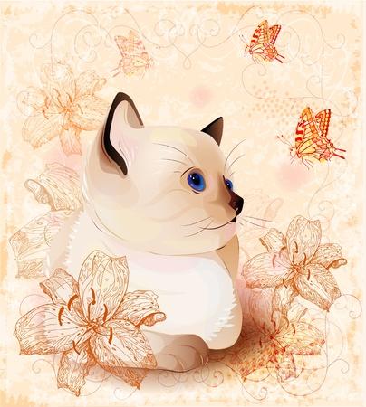 Vintage verjaardagskaart met siamese kleine kitten en bloemen Stock Illustratie