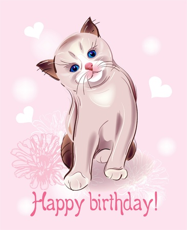Happy birthday greeting card  with  little  kitten on the pink background.  Watercolor style. Vector