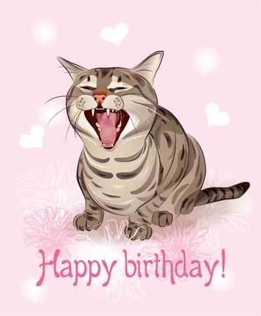 Happy birthday card.   Funny cat sings greeting song. Pink background with hearts and flowers.   Vector