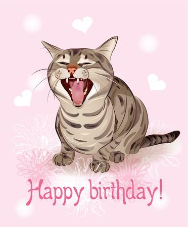 Happy birthday kaart. Grappige kat zingt groet lied. Roze achtergrond met hartjes en bloemen.