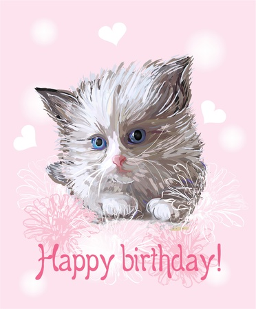 Happy birthday greeting card with  fluffy  little  kitten on the pink background.   Vector