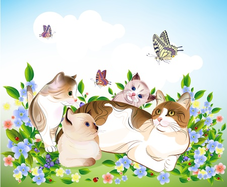 happy �ats family. Cat and  kittens on the meadow. Vector