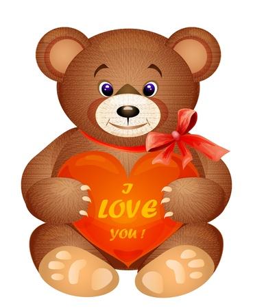 Teddy bear with red heart Vector