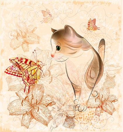 verjaardagskaart met kleine kitten, bloemen en vlinders Stock Illustratie