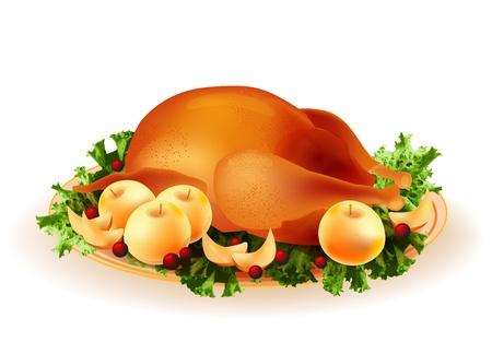 고명: 사과와 월귤 나무 전통적인 구이 치킨 일러스트