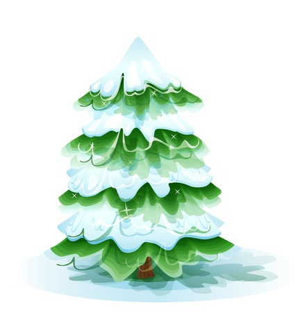 Christmas tree covered with deep snow Vector