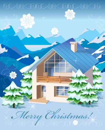 mountainous: Christmas rural landscape
