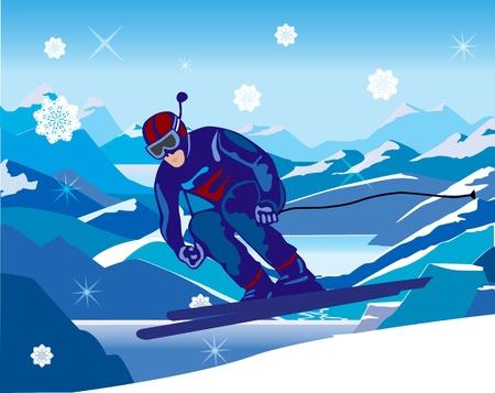 narciarz: narciarz opadający w dół ze wzgórza