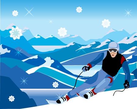 丘の上から下に傾斜のスキーヤー  イラスト・ベクター素材