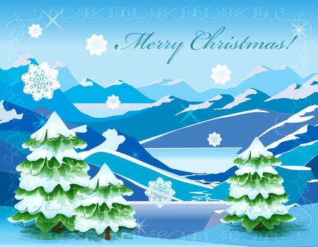 mountainous: Christmas  mountain landscape with tree covered with deep snow Illustration