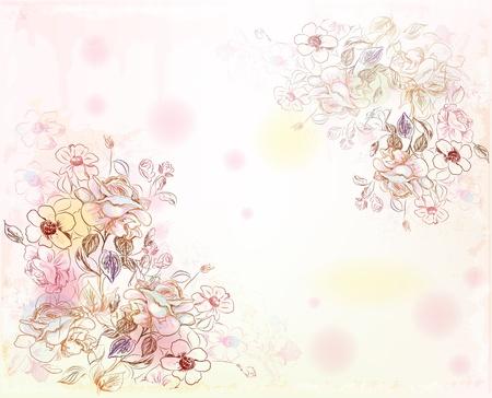 水彩背景上のライン アート バラ  イラスト・ベクター素材