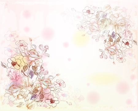 line art roses on the watercolor background Vector