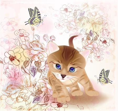 retro verjaardag wenskaart met weinig tabby kitten, bloemen en vlinders. Aquarel stijl.