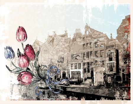 アムステルダムの通りのヴィンテージのイラスト。水彩風。