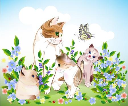 幸せな猫の家族。猫と子猫は牧草地に。  イラスト・ベクター素材