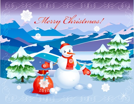snowcapped landscape: cute  smiling snowman   with red christmas sack