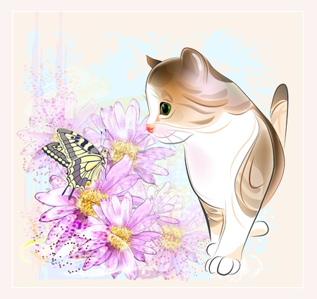 birthday card with  little tabby kitten, flowers and  butterfly . Watercolor style. Vector