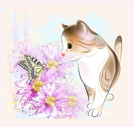 verjaardagskaart met weinig tabby kitten, bloemen en vlinder. Aquarel stijl.