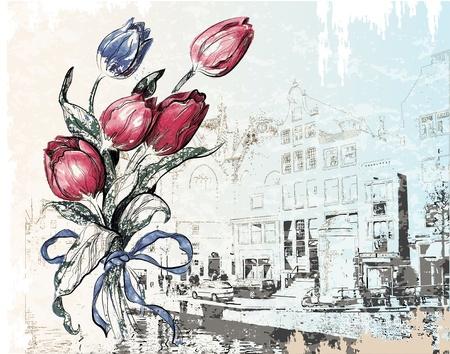 olanda: illustrazione d'epoca di Amsterdam strada e tulipani. Acquerello stile. Vettoriali