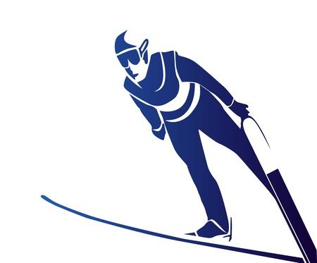 Jumping skiër Vector Illustratie