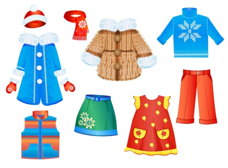 set of seasonal clothes for girls  イラスト・ベクター素材