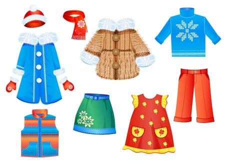 女の子のための季節の服のセット  イラスト・ベクター素材