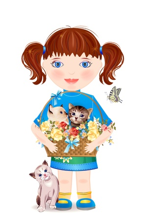 little girl with funny kittens Vector