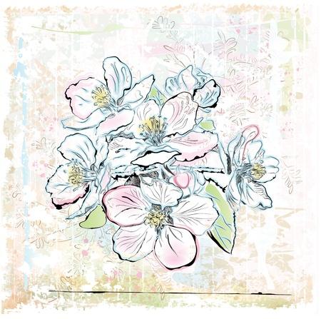 schets van appelboom in bloei