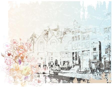 アムステルダムの通り水彩風のヴィンテージのイラスト